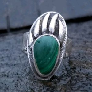 Vintage Malachite Native American Sterling Ring